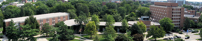 Arial view of wells hall